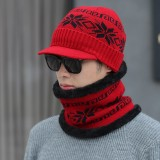 Unisex Men Winter Windproof Knit Plus Velvet Hat Scarf Set Outdoor Thicken Ski Beanie Cap