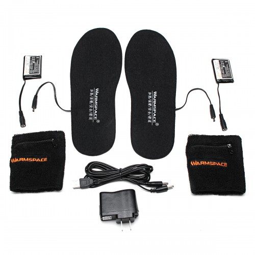WARMSPACE Electric Heated Shoe Insole Foot Warmer Heater Feet Warm Socks Boot + 2 Battery