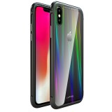 Luphie Protective Case For iPhone XR/XS Max Gradient Color Scratch Resistant Tempered Glass+TPU