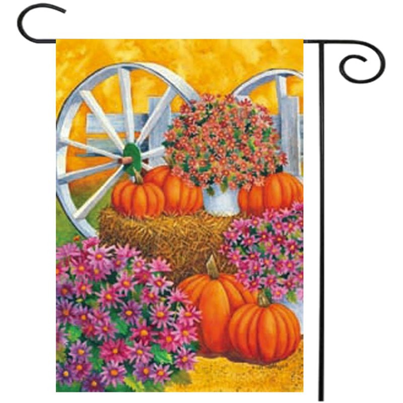 28 X 40 Pumpkin Wagon Wheel Fall Autumn Decorative House Flag