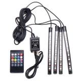 4Pcs USB LED Car Interior Decoration Lights RGB Floor Atmosphere Light Strip Music Control Neon Lamp