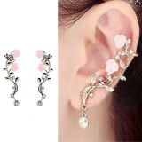 Elegant Pink Flower Womens Cuff Earring Silver Gold Color Piercing Clip Earrings