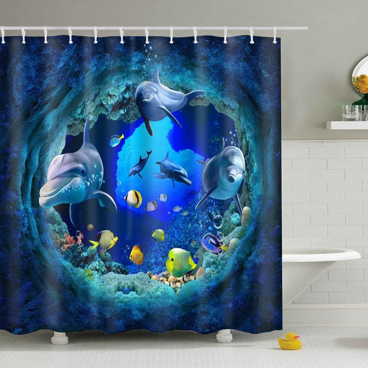 150 X180cm Wooden Texture With 10 Hooks Bathroom Shower Waterproof Curtains