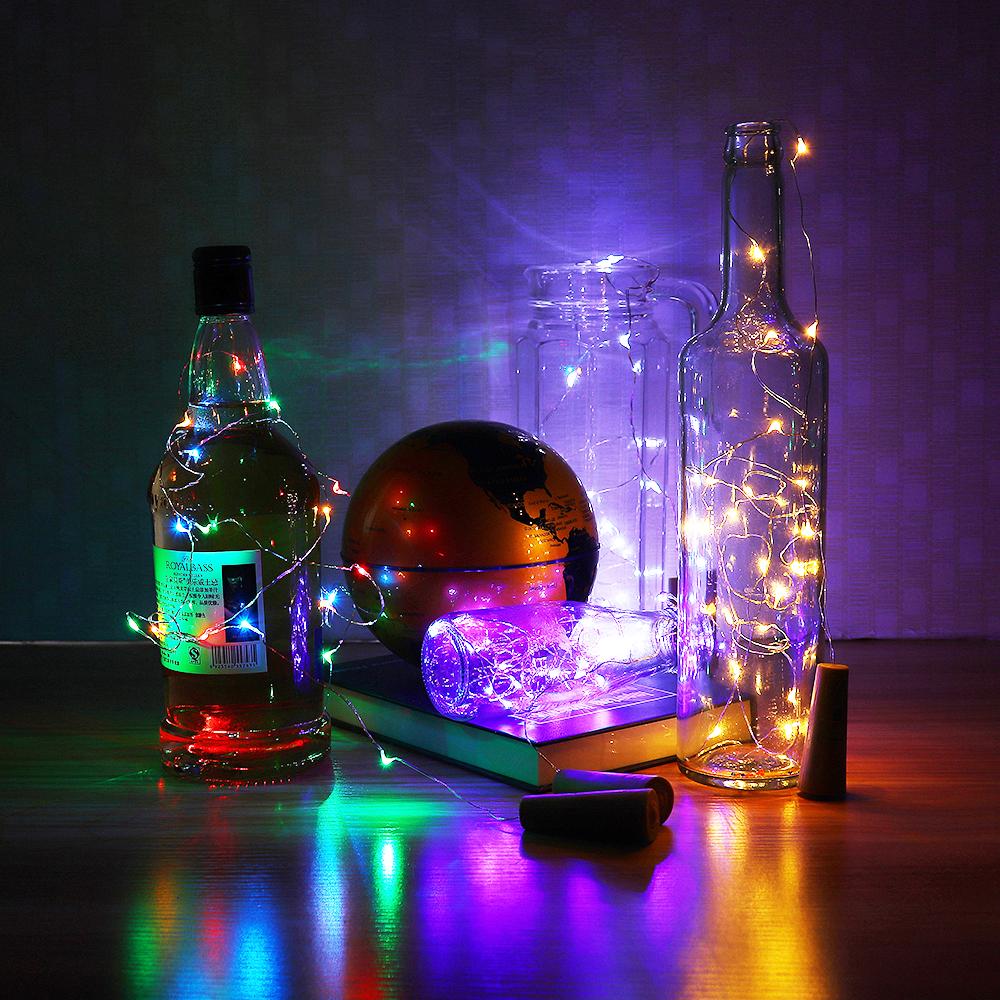 LUSTREON Battery Powered 2M 20LED 3 Modes Sliver Wire Bottle String Fairy Light for Christmas Decor
