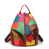 Women Casual Patchwork Genuine Leather Large Capacity Shoulder Bags Crossbody Bags