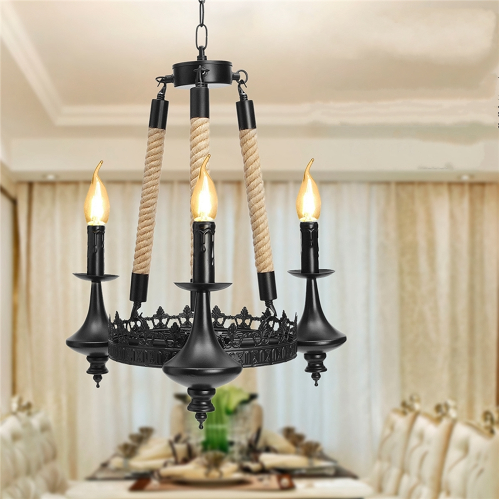 E14 3 Heads Iron Chandelier Living Room Dining Room