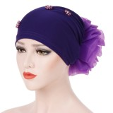 Women Winter Cotton Earmuffs Muslin Chemical Turban Cap Outdoor Flexible Rhinestone Beanie Hat