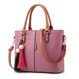 Women Solid Faux Leather Large Capacity Handbag Tassel Casual Crossbody Bag