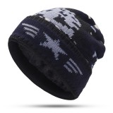 Mens Crimped Winter Plus Velvet Warm Slouchy Knit Beanie Hat Casual Plus Size Earmuffs Skull Cap