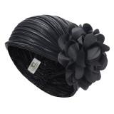 Women Vintage Folding Floral Headband Beanie Cap Lady Retro Headgear Chemotherapy Hat