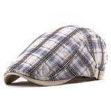Unisex Casual Outdoor Adjustable Plaid Pattern Cotton Beret Peaked Cap Hat