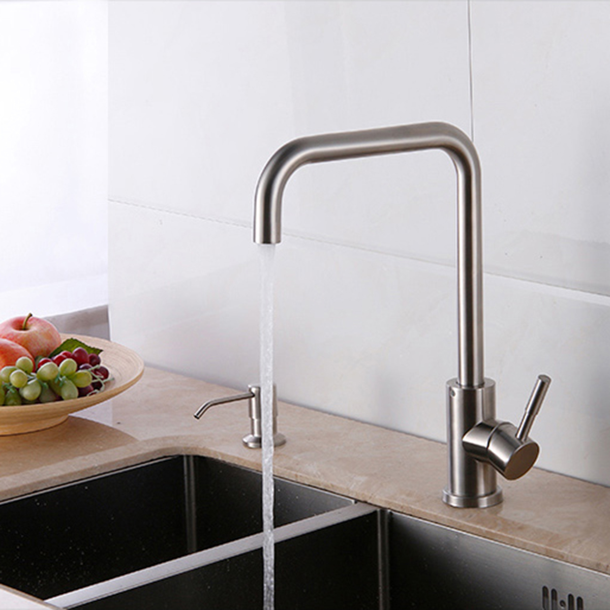 304 Stainless Steel Burnished Faucet Kitchen Hot And Cold Water Mixer  Single Handle Rotation Tap