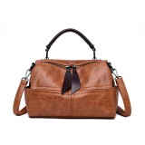 Women Soft Leather Crossbody Bag Double Shoulder Strap Leisure Handbag Solid Boston Shoulder Bag