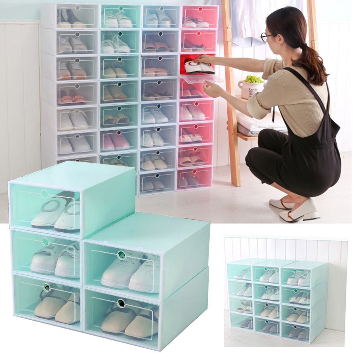 Foldable Clear Plastic Shoe Storage Boxes Display Organizer Stackable Tidy Save Space Single Box