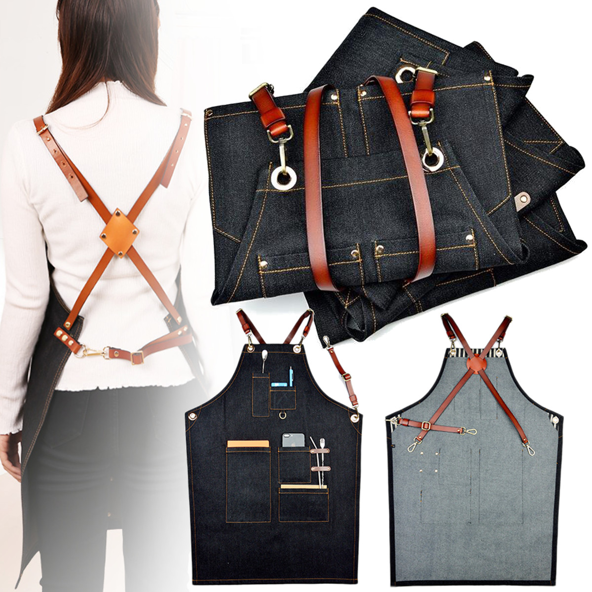 4 Styles Denim Bib Apron Leather Strap Hairtician Barista Work Hairdressing Robes