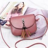 Women Vintage Solid Tassel Crossbody Bag Leisure Shoulder Bag