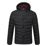 S/M/4XL Mens USB Heated Warm Back Cervical Spine Hooded Winter Jacket Motorcycle Skiing Riding Coat