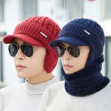 Men Women Winter Windproof Plus Velvet Knit Hat Scarf Set Outdoor Thicken Ski Earmuffs Cap