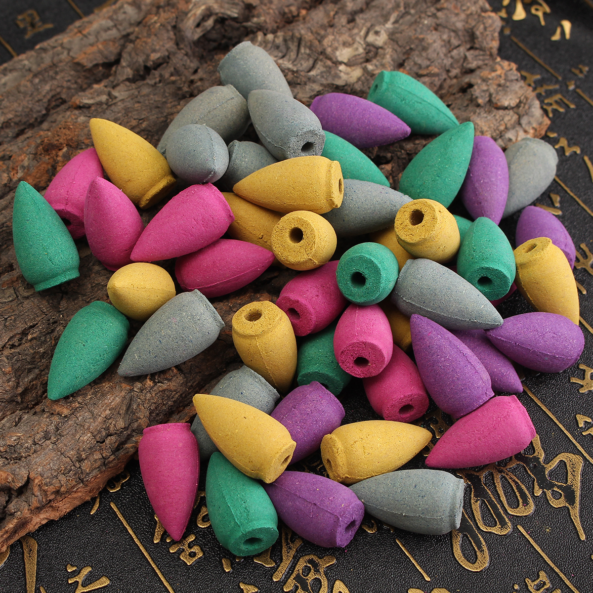 50Pcs//Bag Backflow Incense Cones Sandalwood Jasmine Lily Lavender Mixed Fragranc