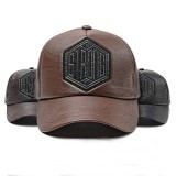 Men Women Winter PU Leather Baseball Cap Outdoor Adjustable Letter Badge Peaked Hat Dad Hat