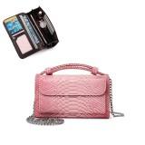 Women Snake Skin Genuine Leather Chain Shoulder Bag Crossbody Bag Handbag Long Wallet
