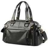 Men PU Leather Outdoor Casual Traveling Large Capacity Multi-function Crossbody Bag