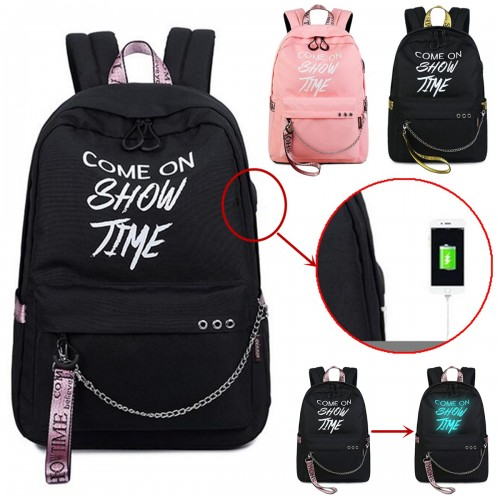 15.6 Inch Anti-Theft Laptop USB Backpack Luminous Outdoor Travel School Bag Men Women