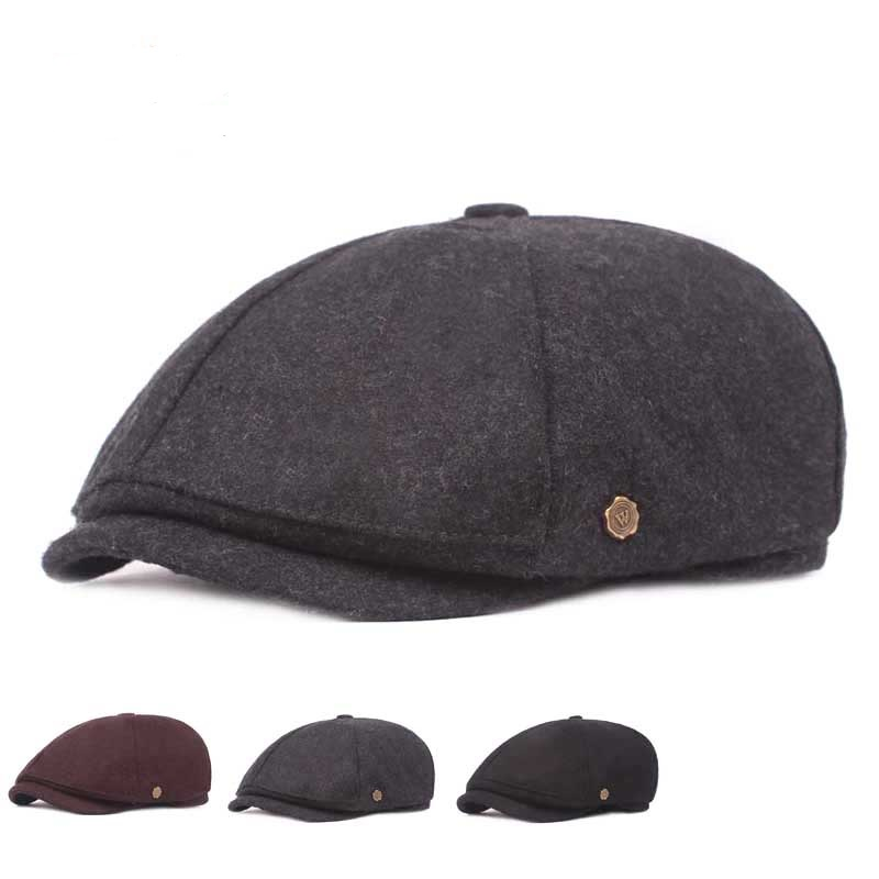 Retro Winter Thicken Woolen Blending Beret Hat Outdoor Plain Octagon Newsboy Caps for Men Women