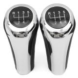 5 6 Speed Leather Chrome Aluminum Manual Gear Shift Knob For BMW E82 E90 E91 E60 E63 E83 E84 E53