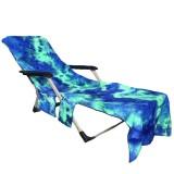 210 x 75cm Beach Chair Towel Lazy Sunbath Towel Tie-dye Multi-pocket Absorbent Camping Mat Towels