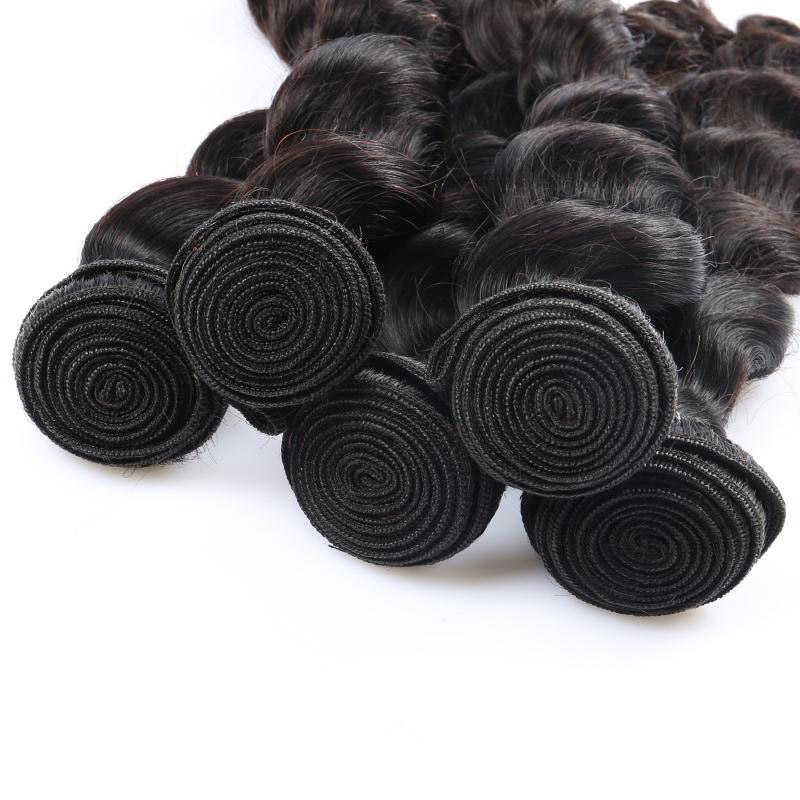 1 Bundle Brazilian Loose Wave Virgin Hair Weave Natural Black Human Hair Extensions