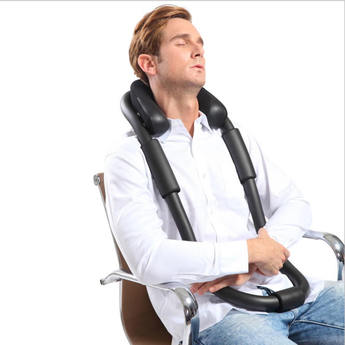 Neck U Shaped Cervical Pillow Office Nap Aircraft Car Travel Black Hardcover
