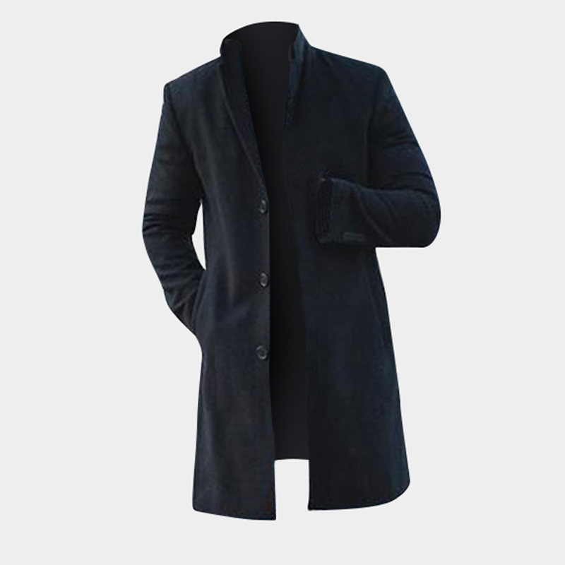 INCERUN Mens Mid-long Length Solid Color Big Size Trench Coat Single-Breasted Jacket