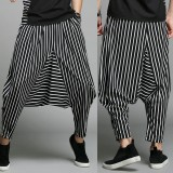 Mens Casual Loose Fashion Stripe Wide Leg Autumn Elastic Waist Pockets Harem Pants