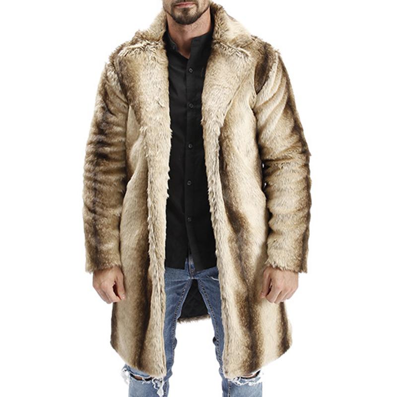 Mens Winter Gradient Striped Warm Faux Fur Coat Suit Collar Mid-long Casual Jacket