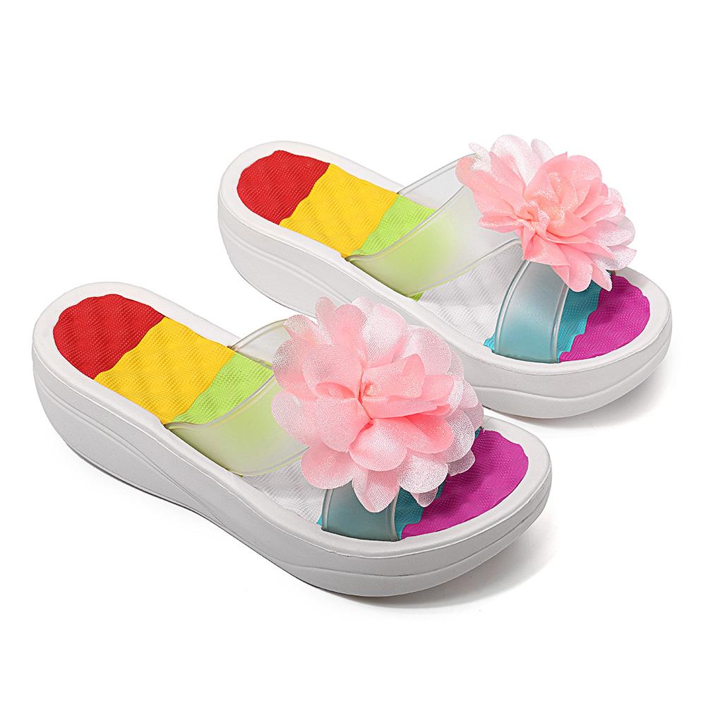 Women Summer Slippers Flip Flops Platform Floral Shoes