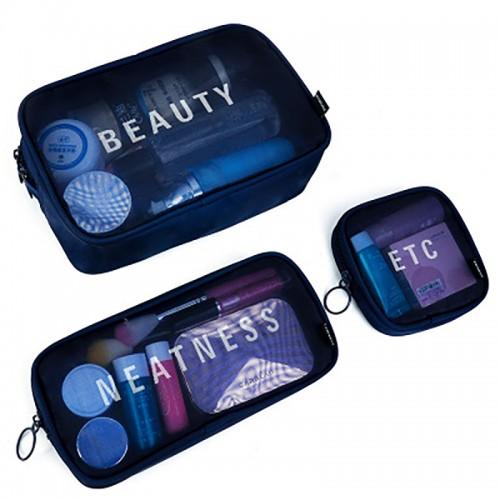 Nylon S/M/L Travel Women Cosmetic Bag Portable Makeup Bag Mesh Case Portable Box
