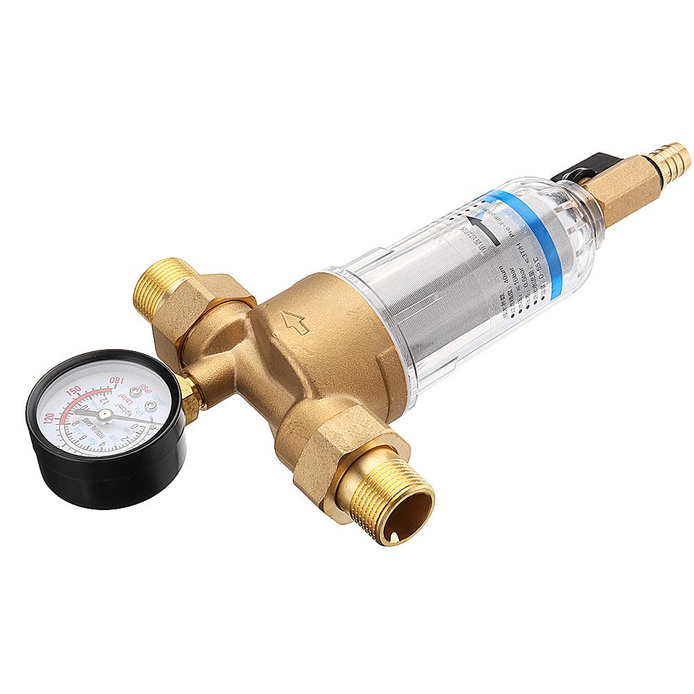 """TMOK Water Pre Filter System 3/4"""" & 1"""" Brass Mesh Prefilter Purifier w/ Reducer Adapter & Gauge"""