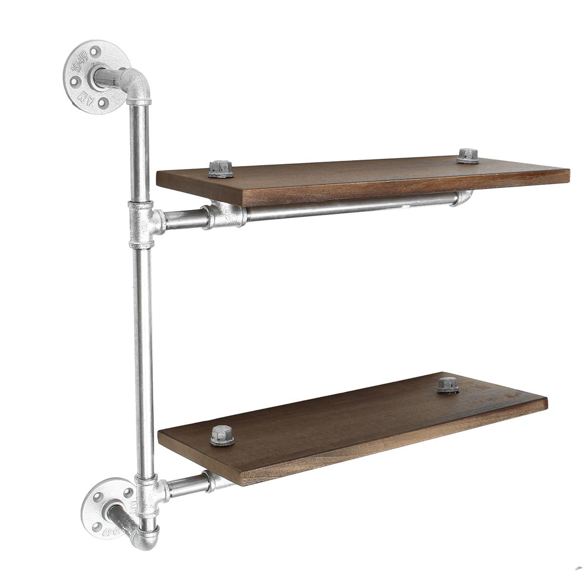 2 Tier Industrial Pipe Wall Shelf Bracket Vintage Storage Cupboard Display Shelving Rack