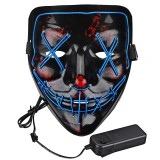 Halloween 4-Modes LED Light El Wire Mask Up Funny Mask The Purge Election Year Great Cosplay Mask