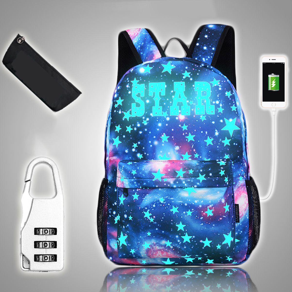 18L Luminous USB  Anti-theft Backpack Waterproof Laptop School Bag Camping Travel