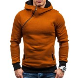 Men's Casual Modish Tilted Zipper Patchwork Buttons Pocket Design Hooded Long Sleeve Sweatshirt