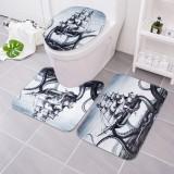 3Pcs Octopus Bathroom Rug Sailing Anti-slip Bath Carpet Toilet Seat Lid Rug Floor Mat