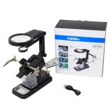 3X/4.5X/25X Soldering Table Magnifier Illuminated Magnifying Glass Third Hand Magnifier