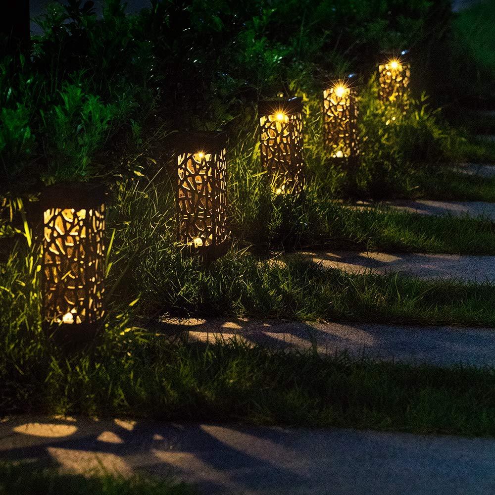 Solar Power Light Sensor Hollow Out Lawn Lamp Waterproof