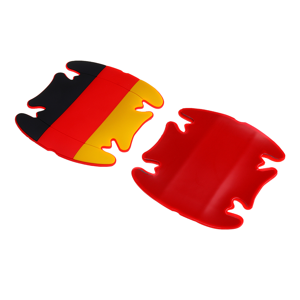 4Pcs Silicone Car Side Door Handle Guard Stickers Paint Anti-scratch Protector Mat Pad Flag Pattern