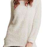 Women Winter Casual Pure Color Long Sleeve Crew Neck Tops Sweaters