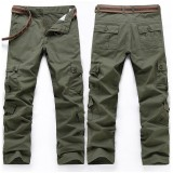 Men's Casual Loose Cargo Pants Solid Color Mulit Pockets Sports Outdoor Trousers