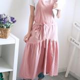 Vintage Women Japanese Cotton Linen Solid Color Pleated Long Aprons Dress