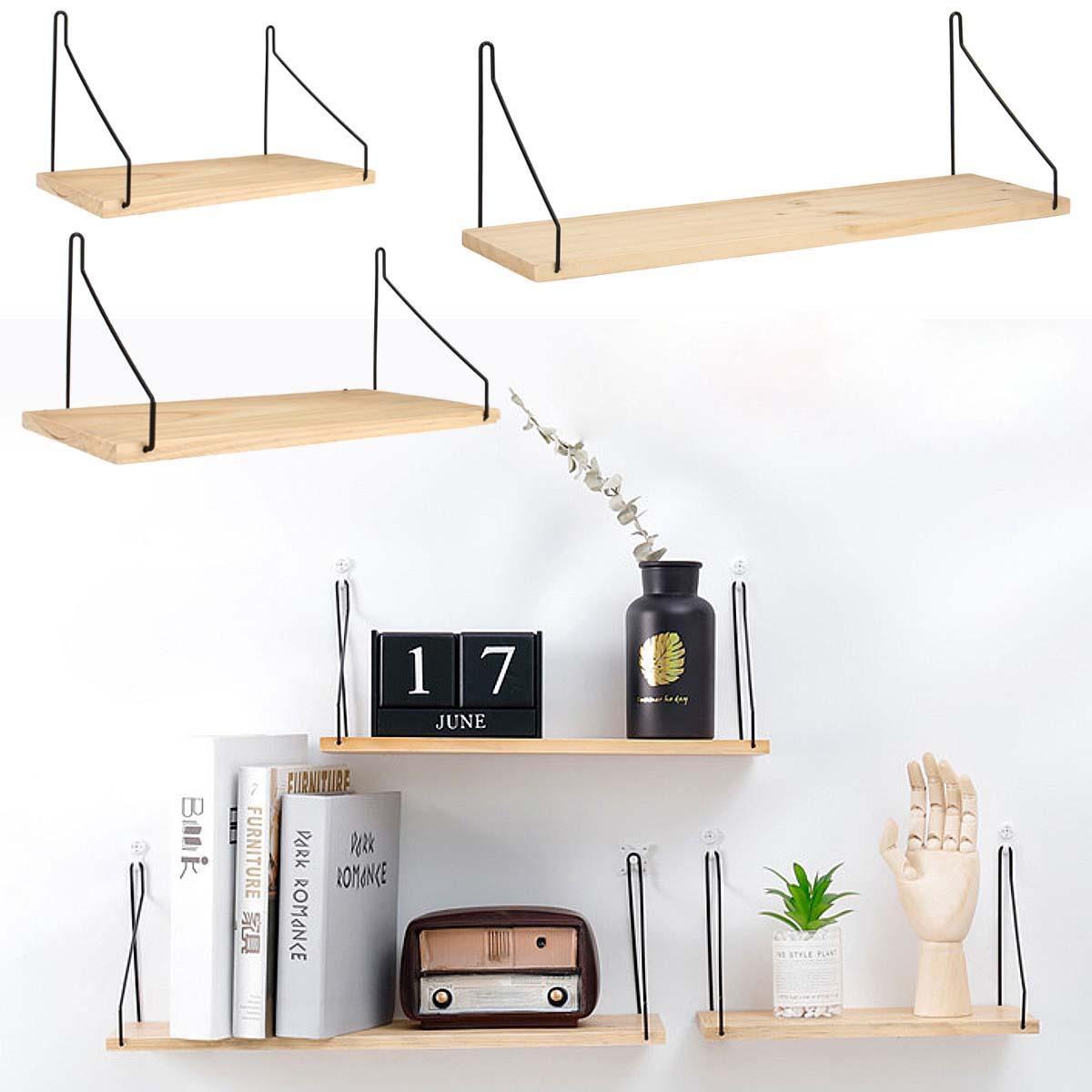 wall shelf wood iron hanging holder storage wall mount rack home display decorations. Black Bedroom Furniture Sets. Home Design Ideas